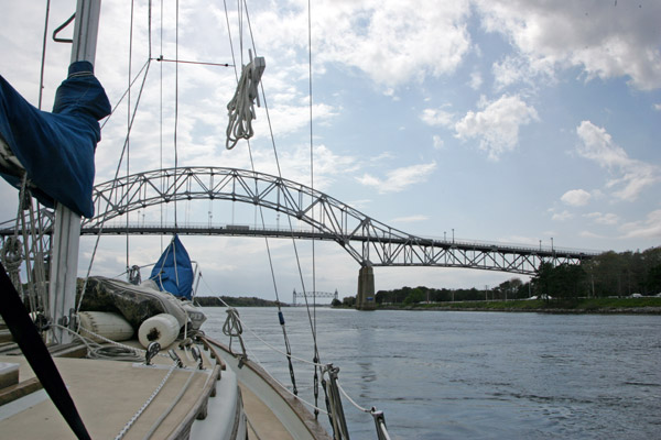 Approaching the Bourne Bridge over the Cape Cod Canal.