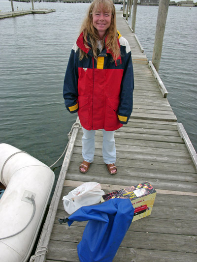 Michelle at the Block Island Boat Basin dinghy dock.