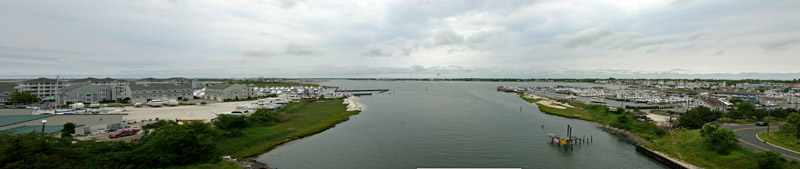 A panoramic view of Cape May Harbor